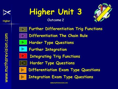 www.mathsrevision.com Higher Outcome 2 Higher Unit 3 www.mathsrevision.com Further Differentiation Trig Functions Harder Type Questions Further Integration.
