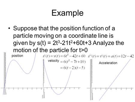 Example Suppose that the position function of a particle moving on a coordinate line is given by s(t) = 2t 3 -21t 2 +60t+3 Analyze the motion of the particle.
