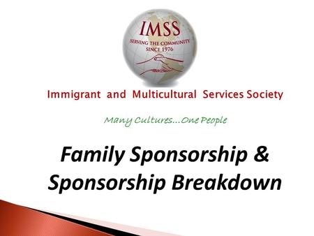 Immigrant and Multicultural Services Society Many Cultures…One People Family Sponsorship & Sponsorship Breakdown.