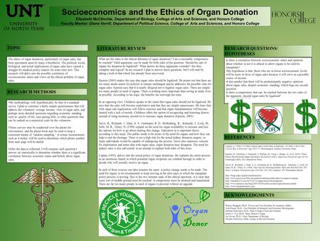 Socioeconomics and the Ethics of Organ Donation Elizabeth McClinchie, Department of Biology, College of Arts and Sciences, and Honors College Faculty Mentor: