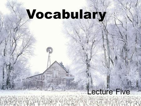 Vocabulary Lecture Five.