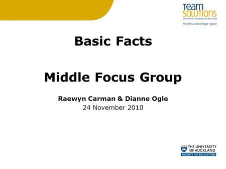 Basic Facts Middle Focus Group Raewyn Carman & Dianne Ogle 24 November 2010.