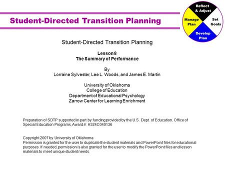 Student-Directed Transition Planning Lesson 8 The Summary of Performance By Lorraine Sylvester, Lee L. Woods, and James E. Martin University of Oklahoma.