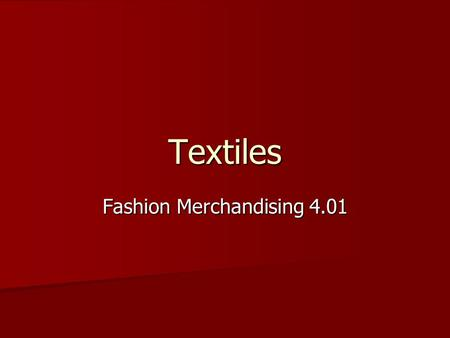 Fashion Merchandising 4.01