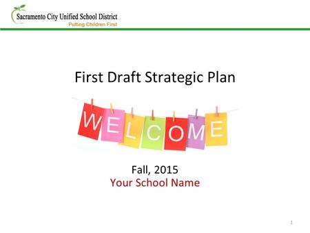 First Draft Strategic Plan Fall, 2015 Your School Name 1.