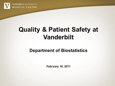 February 16, 2011 Quality & Patient Safety at Vanderbilt Department of Biostatistics 1.