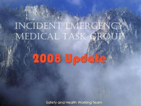 Incident Emergency Medical Task group 2008 Update Safety and Health Working Team.
