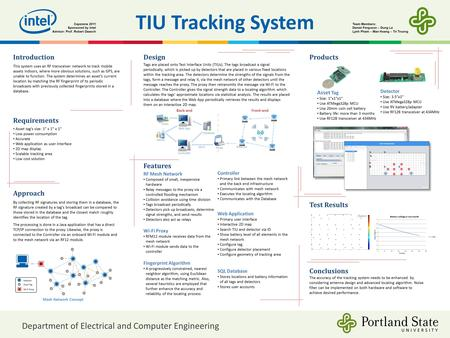 "TIU Tracking System Requirements Asset tag's size: 1"" x 1"" x 1"" Low power consumption Accurate Web application as user interface 2D map display Scalable."