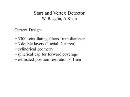 Start and Vertex Detector W. Boeglin, A.Klein Current Design: 3300 scintillating fibers 1mm diameter 3 double layers (1 axial, 2 stereo) cylindrical geometry.
