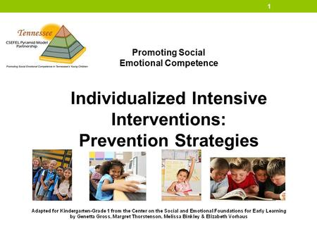 Promoting Social Emotional Competence Individualized Intensive Interventions: Prevention Strategies 1.