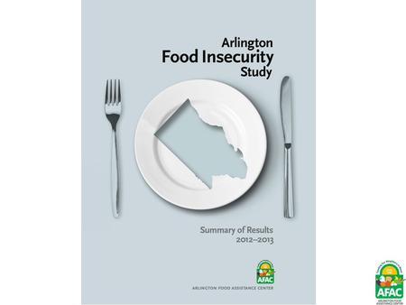 Why Conduct the Study? Feeding America 2011 – 19,980 food insecure people in Arlington County (approx 9% of total population) AFAC 2400 families referred=5200.