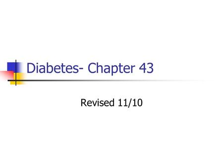 Diabetes- Chapter 43 Revised 11/10. Types of Diabetes Type 1 — insulin- dependent diabetes mellitus (IDDM) Insulin produced in insufficient amount Requires.