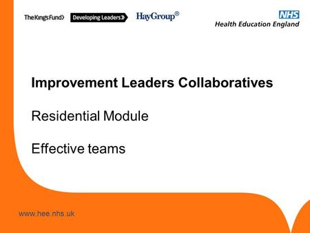 Www.hee.nhs.uk Improvement Leaders Collaboratives Residential Module Effective teams.