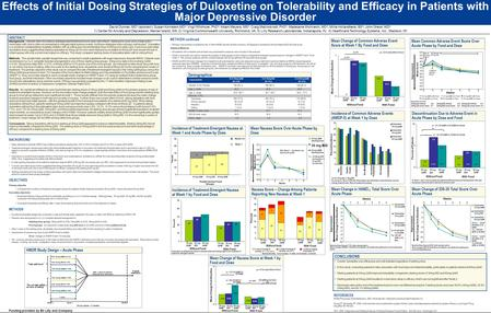 Effects of Initial Dosing Strategies of Duloxetine on Tolerability and Efficacy in Patients with Major Depressive Disorder David Dunner, MD 1 (sponsor);