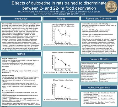 E ff ects of duloxetine in rats trained to discriminate between 2- and 22- hr food deprivation M.A. Vanden Avond, A.R. Johnson, K.A. Reed, B.R. Gomer, D.J.