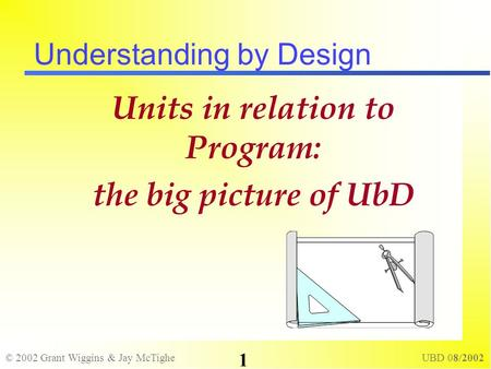 © 2002 Grant Wiggins & Jay McTighe UBD 08/2002 1 Understanding by Design Units in relation to Program: the big picture of UbD.