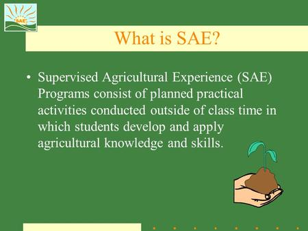 What is SAE? Supervised Agricultural Experience (SAE) Programs consist of planned practical activities conducted outside of class time in which students.