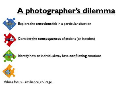 Explore the emotions felt in a particular situation A photographer's dilemma Consider the consequences of actions (or inaction) Identify how an individual.