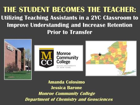 THE STUDENT BECOMES THE TEACHER: Utilizing Teaching Assistants in a 2YC Classroom to Improve Understanding and Increase Retention Prior to Transfer Jessica.