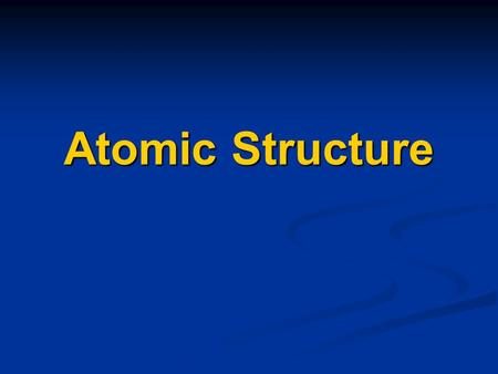 Atomic Structure. I. Atoms The atom is the basic unit of matter.