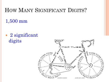 H OW M ANY S IGNIFICANT D IGITS ? 1,500 mm 2 significant digits.