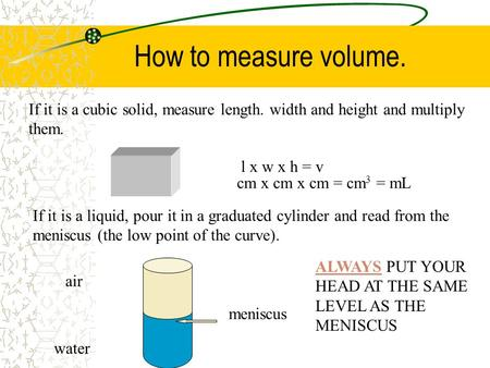 How to measure volume. If it is a cubic solid, measure length. width and height and multiply them. l x w x h = v If it is a liquid, pour it in a graduated.