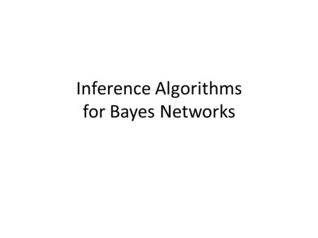Inference Algorithms for Bayes Networks. Outline Bayes Nets are popular representations in AI, and researchers have developed many inference techniques.