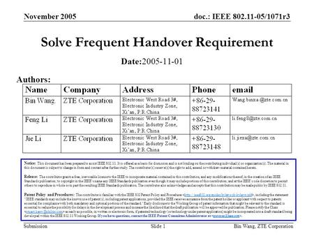 Doc.: IEEE 802.11-05/1071r3 Submission November 2005 Bin Wang, ZTE CorporationSlide 1 Solve Frequent Handover Requirement Notice: This document has been.