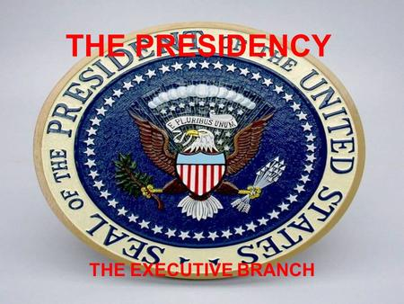 THE PRESIDENCY THE EXECUTIVE BRANCH. A. The President 1. The most powerful person in the world 2. Must be born in the US 3. Must be over 35 4. Must have.
