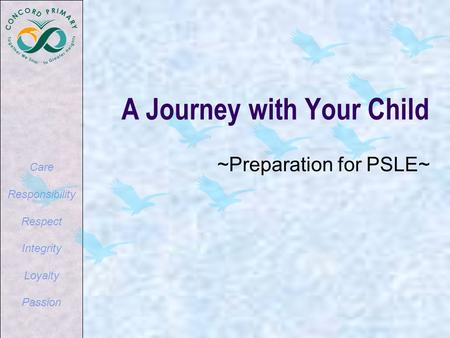 Care Responsibility Respect Integrity Loyalty Passion A Journey with Your Child ~Preparation for PSLE~