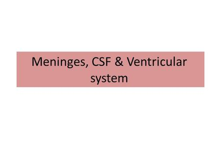 Meninges, CSF & Ventricular system. Objectives Describe the arrangement of the meninges and their relationship to brain and spinal cord. Explain the occurrence.