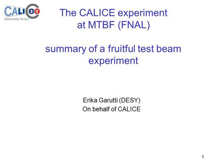 1 The CALICE experiment at MTBF (FNAL) summary of a fruitful test beam experiment Erika Garutti (DESY) On behalf of CALICE.