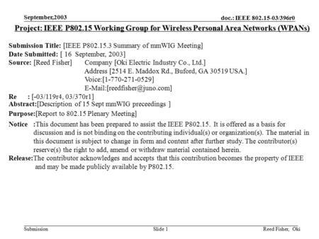 Doc.: IEEE 802.15-03/396r0 Submission September,2003 Reed Fisher, OkiSlide 1 Project: IEEE P802.15 Working Group for Wireless Personal Area Networks (WPANs)