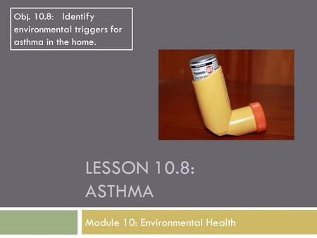 LESSON 10.8: ASTHMA Module 10: Environmental Health Obj. 10.8: Identify environmental triggers for asthma in the home.