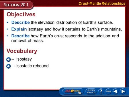 Objectives Describe the elevation distribution of Earth's surface. Crust-Mantle Relationships Explain isostasy and how it pertains to Earth's mountains.