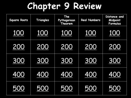Chapter 9 Review Square RootsTriangles The Pythagorean Theorem Real Numbers Distance and Midpoint Formulas 100 200 300 400 500.