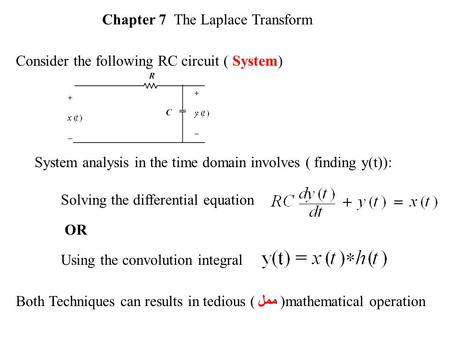 System analysis in the time domain involves ( finding y(t)): Solving the differential equation Using the convolution integral OR Both Techniques can results.