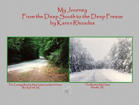 My Journey From the Deep South to the Deep Freeze by Karen Rhoades The Carriage Road to My Great Grandma's House Rocky Point, NC The Road to My House.