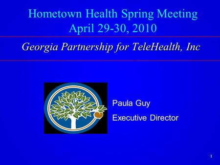 Hometown Health Spring Meeting April 29-30, 2010 Paula Guy Executive Director Georgia Partnership for TeleHealth, Inc 1.