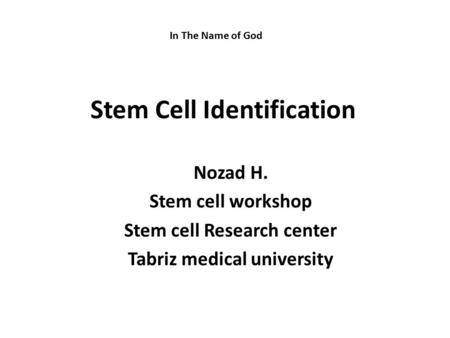 Stem Cell Identification Nozad H. Stem cell workshop Stem cell Research center Tabriz medical university In The Name of God.