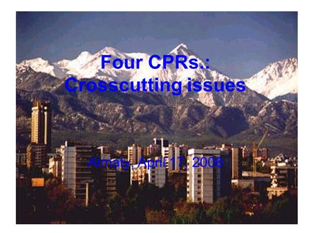 Four CPRs.: Crosscutting issues Almaty, April 17, 2006.