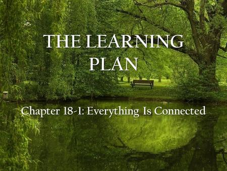 THE LEARNING PLAN Chapter 18-1: Everything Is Connected.
