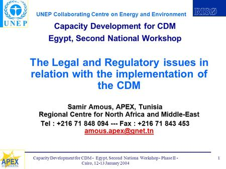 UNEP Collaborating Centre on Energy and Environment Capacity Development for CDM - Egypt, Second Nationa Workshop - Phase II - Cairo, 12-13 January 2004.