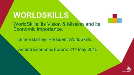 A_201412_new_Member_training_Tel_Aviv1 WorldSkills: its Vision & Mission and its Economic Importance. Simon Bartley: President WorldSkills Astana Economic.
