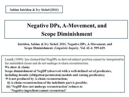 Iatridou, Sabine & Ivy Sichel. 2011. Negative DPs, A-Movement, and Scope Diminishment. Linguistic Inquiry. Vol. 42-4: 595-629. Negative DPs, A-Movement,