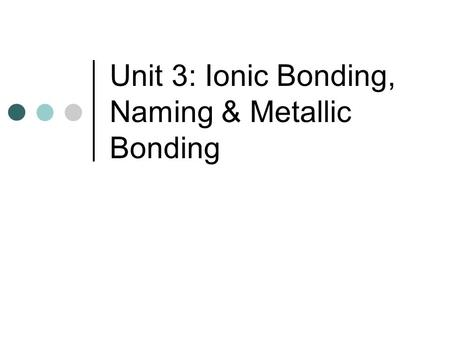 Unit 3: Ionic Bonding, Naming & Metallic Bonding.