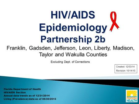 Franklin, Gadsden, Jefferson, Leon, Liberty, Madison, Taylor and Wakulla Counties Excluding Dept. of Corrections Florida Department of Health HIV/AIDS.