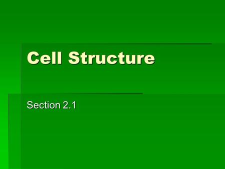Cell Structure Section 2.1. Living Things  Any living thing is called an organism.  Organisms vary in size from microscopic bacteria in mud puddles.