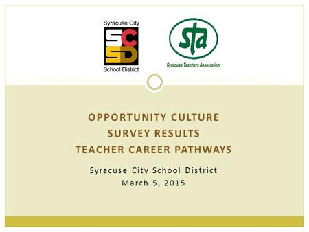 Syracuse City School District March 5, 2015 OPPORTUNITY CULTURE SURVEY RESULTS TEACHER CAREER PATHWAYS.