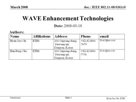 Doc.: IEEE 802.11-08/0361r0 Submission Hyun Seo Oh, ETRI March 2008 Slide 1 March 2008 Slide 1 WAVE Enhancement Technologies Date: 2008-03-18 Authors: